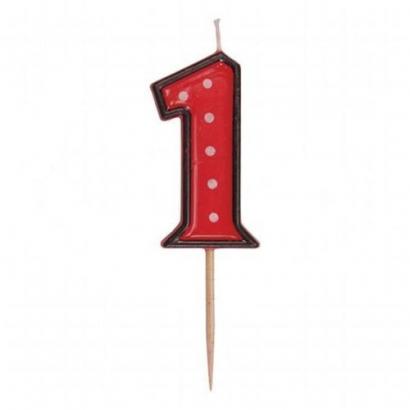 Svíčka  na dort červená puntík  1