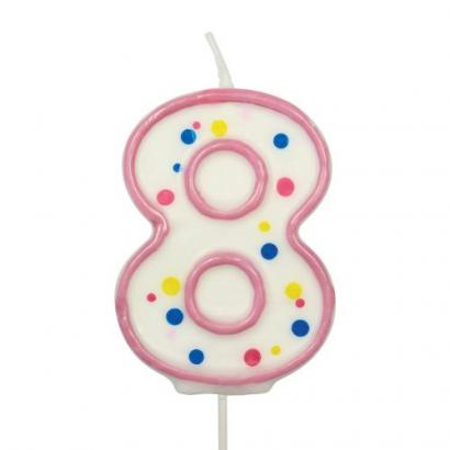 Svíčka  na dort růžový puntík  8