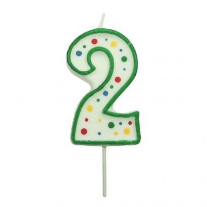 Svíčka na dort zelená puntík  2