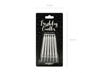 Kovově stříbrné lesklé svíčky  6 ks
