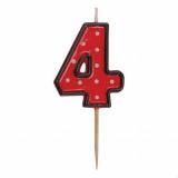 Svíčka  na dort červená puntík  4