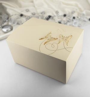 Krabička motýlková velká  zlatá perleť 10 ks