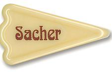 Čokoládová dekorace nápis sacher 12 ks