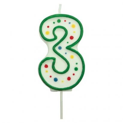 Svíčka na dort zelená puntík  3