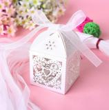 Krabička na drobné cukroví - makronky  bílá perleť  1 ks