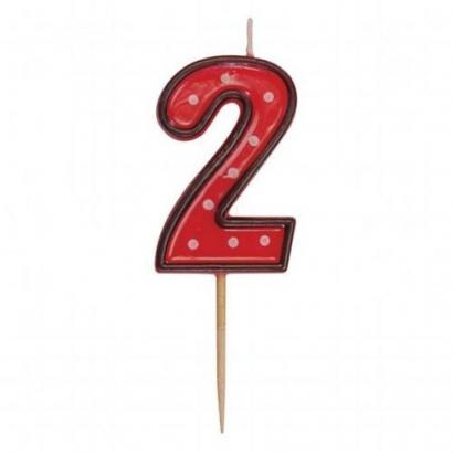 Svíčka  na dort červená puntík  2