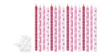 Svíčky dortové barevné 16 ks růžové