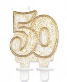 Svíčka narozeninová číslice zlatá  50