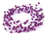 Fialové perleťové perličky na vlasci  1 m