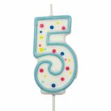 Svíčka na dort modrý puntík  5