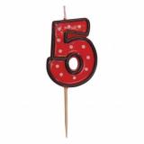 Svíčka  na dort červená puntík  5