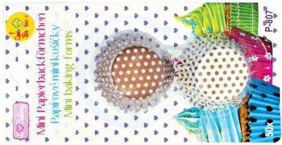 Papírové košíčky malé hnědý puntík