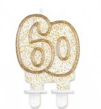 Svíčka narozeninová číslice zlatá  60