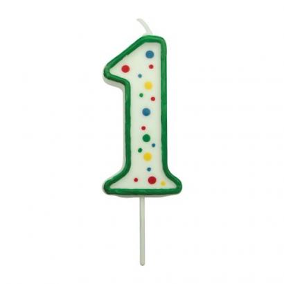Svíčka na dort zelená puntík  1