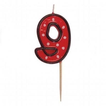 Svíčka  na dort červená puntík  9