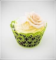 Košíčky na cupcakes  12 ks  zelené - květiny