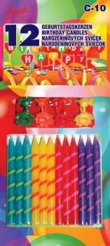 Svíčky  proužek barevné 12 ks