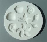 Silikonová forma mořské plody bílá kulatá