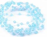 Světle modré perleťové perličky na vlasci 1 m