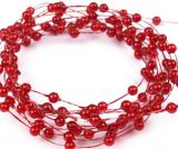 Červené perleťové perličky na vlasci 1 m