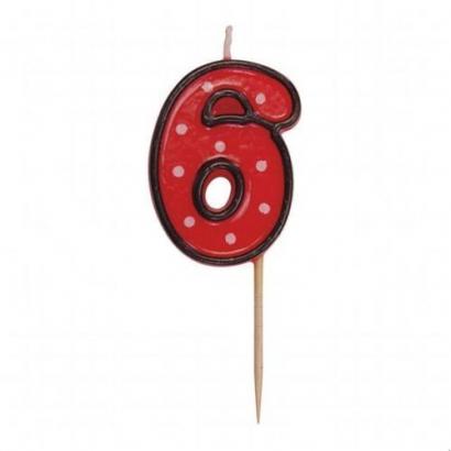 Svíčka  na dort červená puntík  6