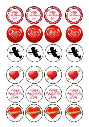 24 ks obrázků z jedlého papíru valentýn 3