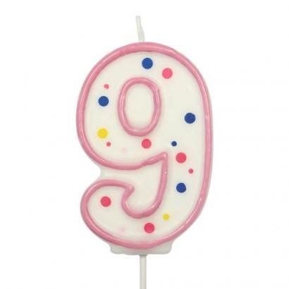 Svíčka  na dort růžový puntík  9