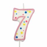 Svíčka  na dort růžový puntík  7