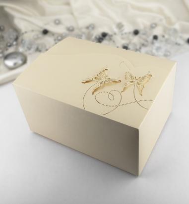 Krabička zlatá perleť motýl 10 ks