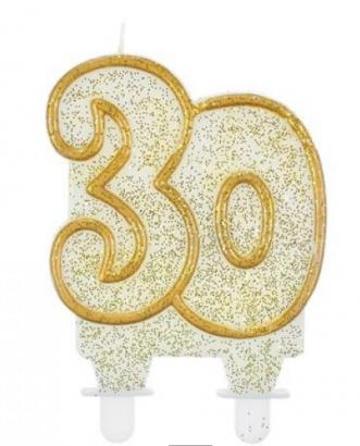Svíčka narozeninová číslice zlatá  30