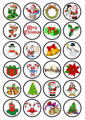 24 ks obrázků z jedlého papíru vánoce 9