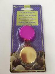 Hliníkové košíčky na pralinky zlaté/fialové