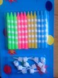 Svíčky barevné proužkaté  12 ks