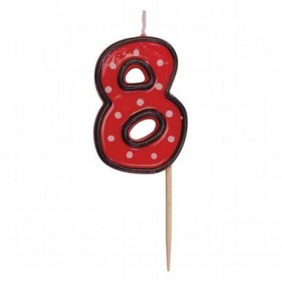 Svíčka  na dort červená puntík  8