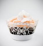 Košíčky na cupcakes  12 ks  bílá perleť motýl