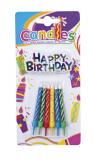 Svíčky dortové  6 ks  barevné s glitry