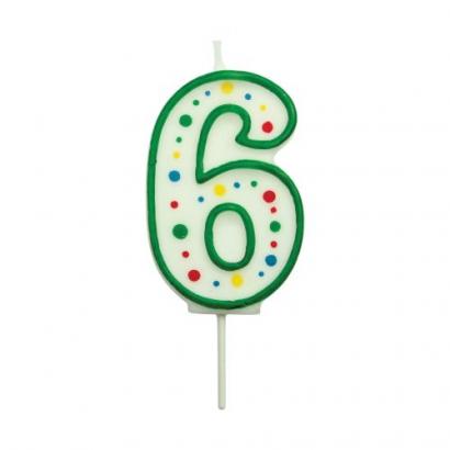 Svíčka na dort zelená puntík  6