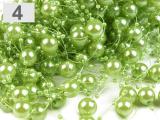 Perličky na silonu zelenkavé