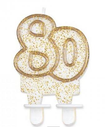 Svíčka narozeninová číslice zlatá  80