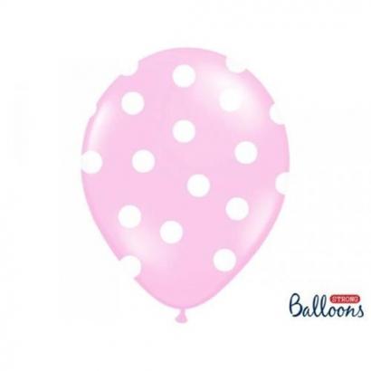 Balonek světle růžový s puntíky  1 ks