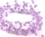 Lila perleťové perličky na vlasci 1 m