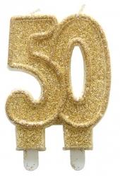 Svíčka zlatá třpytivá  50