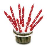 Svíčky dortové červené se srdíčky 10 ks