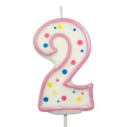 Svíčka  na dort růžový puntík  2