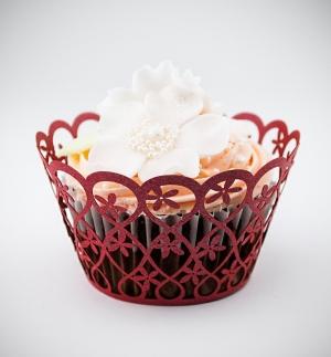 Košíčky na cupcakes  12 ks  červené - květiny
