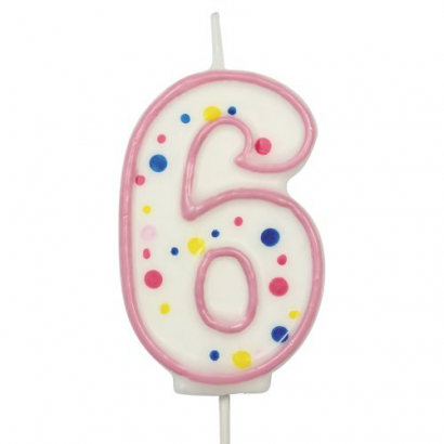 Svíčka  na dort růžový puntík  6