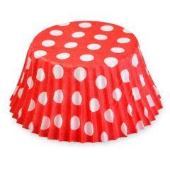 Cukrářské košíčky červené s puntíky  50 ks