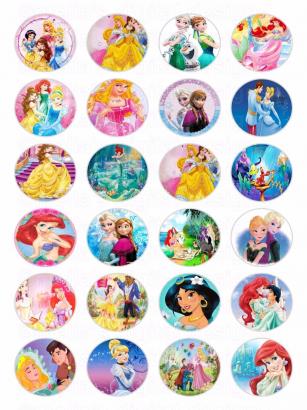 24 ks obrázků z jedlého papíru princezny 2