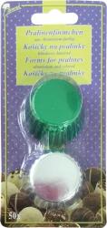 Hliníkové košíčky na pralinky   zelené / stříbrné