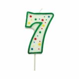 Svíčka na dort zelená puntík  7